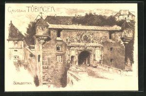 Künstler-AK Tübingen, Blick auf das Schlossthor