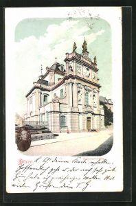 AK Büren, Partie an der Seminarkirche mit aufgeklebten Foto