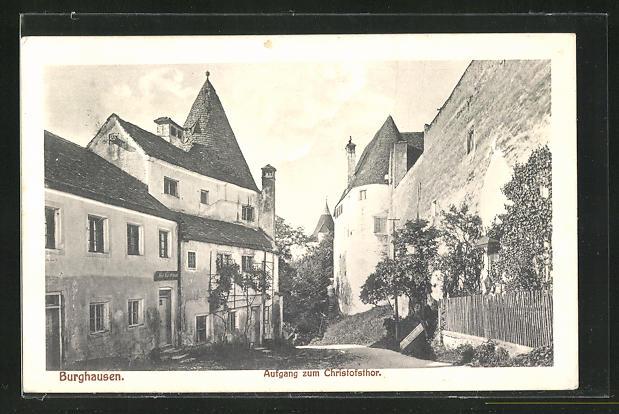 AK Burghausen, Strassen zum Aufgang am Christofsthor