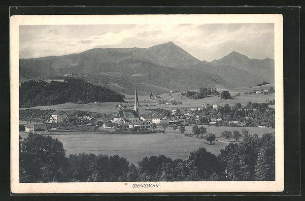 AK Siegsdorf, Ortsansicht aus der Ferne
