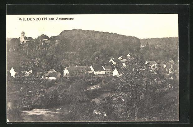 AK Wildenroth am Ammersee, Ortsansicht aus der Vogelschau
