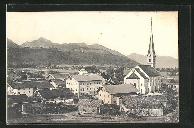AK Bergen, Ortsansicht gegen Hochlerch