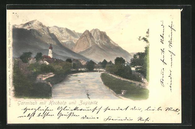 AK Garmisch, Ortsansicht mit Hochalp und Zugspitz