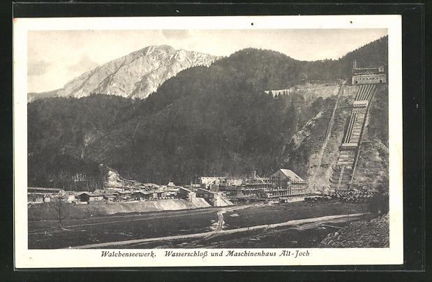 AK Kochel, Walchenseewerk - Wasserschloss und Maschinenhaus Alt-Joch