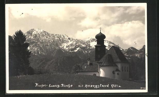 AK Kochel, Evangelische Kirche mit Herzogstand
