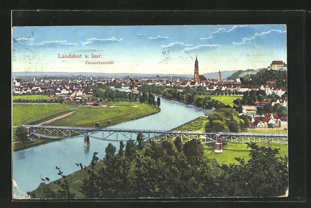 AK Landshut a. Isar, Gesamtansicht aus der Vogelschau