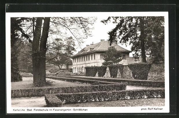 AK Karlsruhe, Badische Forstschule im Fasanengarten-Schlösschen