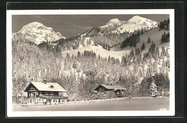 AK Bayrischzell, Hotel Landhaus Schelle-Schneider im Winter