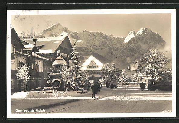 AK Garmisch, Marktplatz im Winter