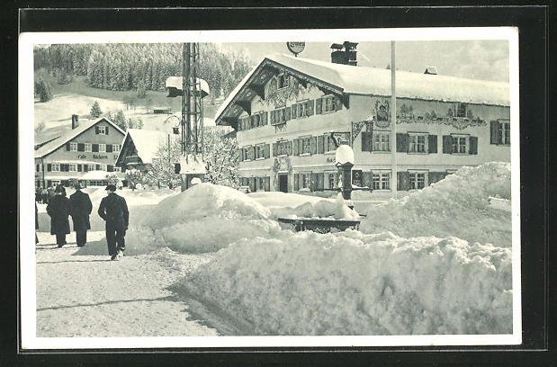 AK Oberstaufen im Allgäu, Marktplatz im Winter