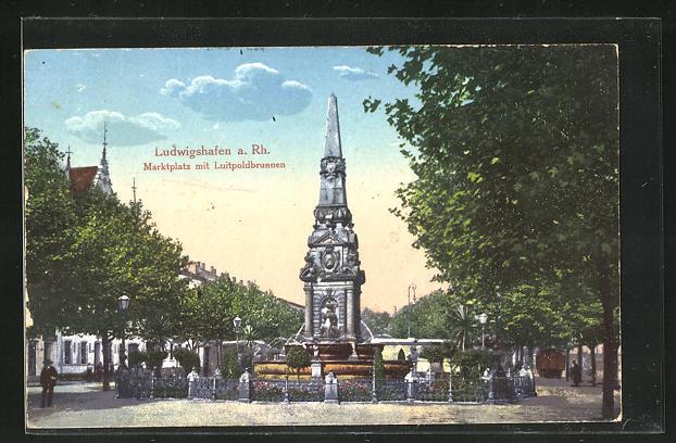 AK Ludwigshafen a. Rh., Marktplatz mit Luitpoldbrunnen