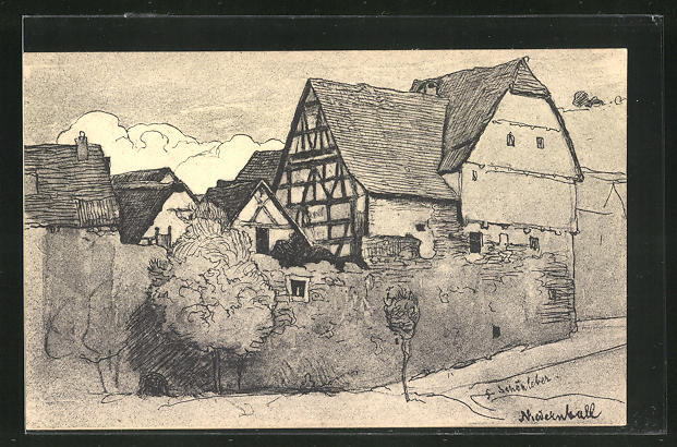 Künstler-AK Niedernhall, Häuser des Ortes