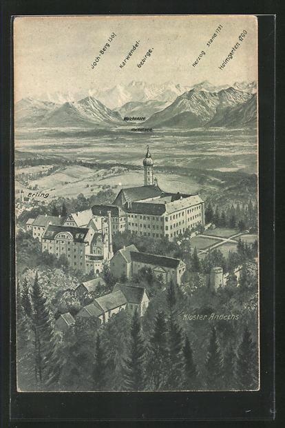 AK Andechs, das Kloster aus der Vogelschau