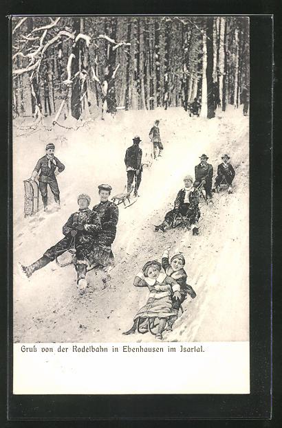 AK Ebenhausen im Isartal, Schlittenfahrer auf der Rodelbahn