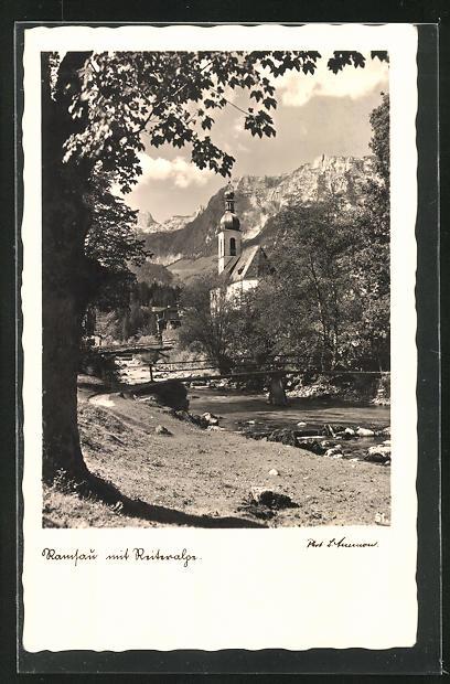 AK Ramsau, Blick zur Kirche mit Reiteralp
