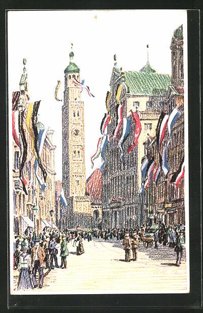 Künstler-AK Augsburg, Rathaus und Perlachturm im Flaggenschmuck -Hindenburg-Tag 1915