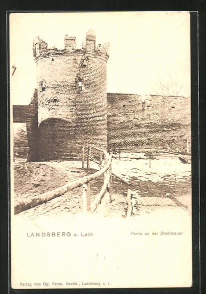AK Landsberg a. Lech, Partie an der Stadtmauer