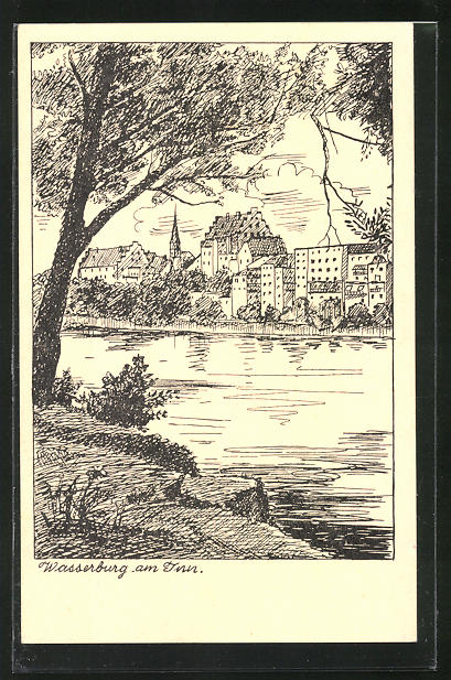Künstler-AK Wasserburg am Inn, Blick über den Fluss zum Ort