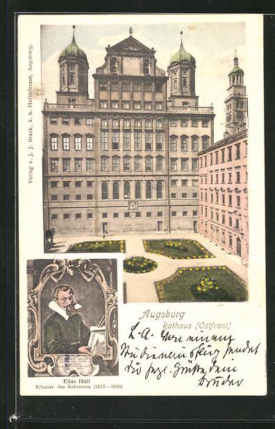 AK Augsburg, Ostfront vom Rathaus und Porträt Elias Holl