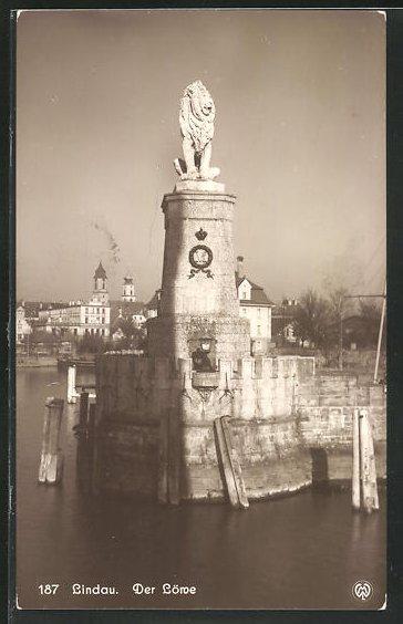 AK Lindau, Der Löwe am Bodensee, Hafeneinfahrt