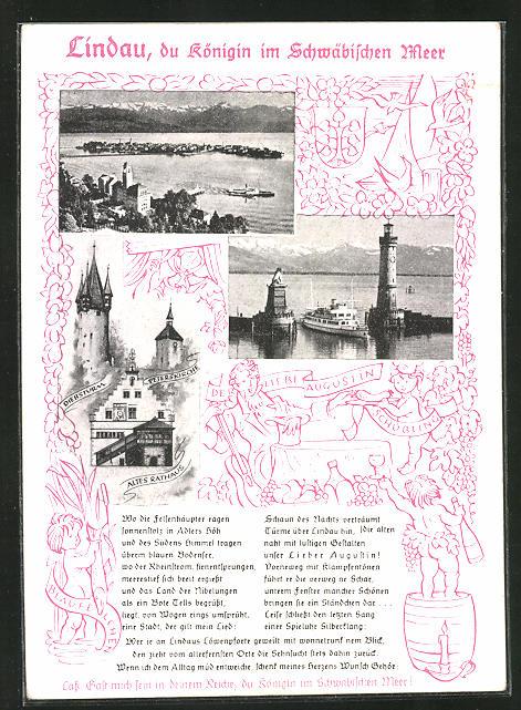 AK Lindau am Bodensee, Peterskirche, altes Rathaus, Hafeneinfahrt