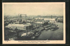 AK Buenos Aires, Vista panorámica tomada desde el puente Presidente Luis Saenz Pena, Blick zum Hafen