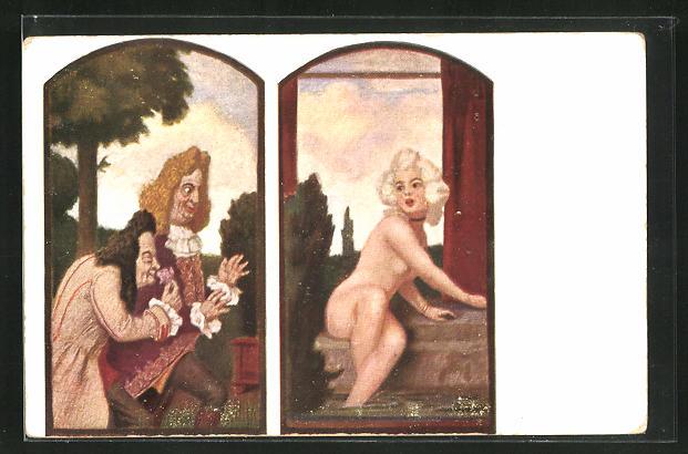 Künstler-AK Ludwig von Zumbusch: Mademoiselle Susanna im Bade wird von Männern beäugt, Verlag Hirth