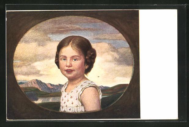 Künstler-AK Ludwig von Zumbusch: Münchener Kindl im Passepartout-Rahmen, Hirth Verlag