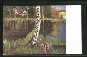 Künstler-AK Eugen Ludwig Hoess: Nach dem Gewitter, Birke am See mit fliegendem Reiher