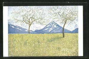 Künstler-AK Eugen Ludwig Hoess: Frühling in den Alpen, Wiese mit blühenden Bäumen vor Bergpanorama