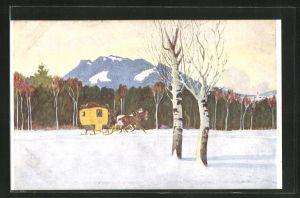 Künstler-AK Eugen Ludwig Hoess: Die Reitenberger Neujahrspost, Postkutsche in der verschneiten Landschaft