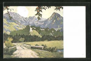 Künstler-AK Eugen Ludwig Hoess: Die weisse Wolke am Rubihorn