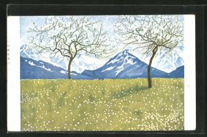Künstler-AK Eugen Ludwig Hoess: Frühling in den Alpen, Blühende Bäume vor Bergpanorama