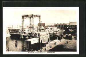 AK Buenos Aires, Puente Barracas, Blick zum Hafen
