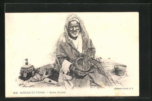 AK Arabischer Korbflechter bei der Arbeit