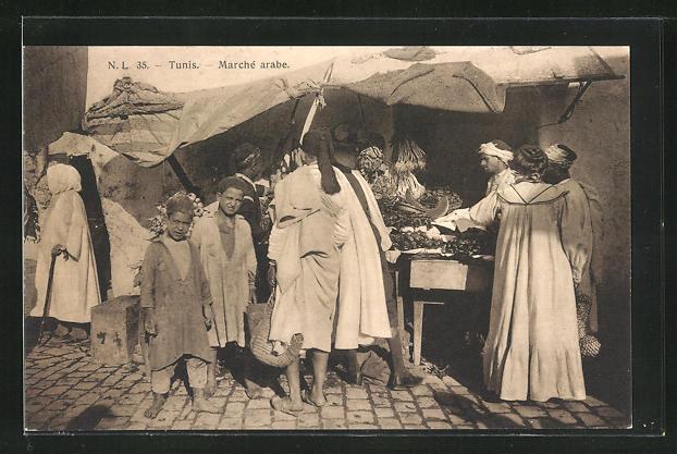 AK Tunis, arabische Händler auf dem Markt