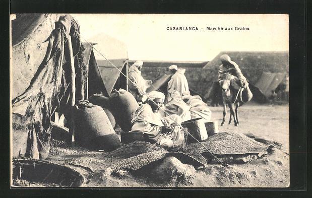 AK Casablanca, Marché aux Grains, arabische Getreidehändler auf dem Markt