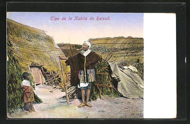 AK Tipo de la Kabila de Raisuli, arabischer Mann in seinem Dorf