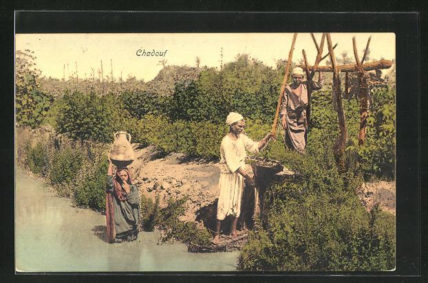AK Egypte, Chadouf, Männer mit Bewässerungsgerät