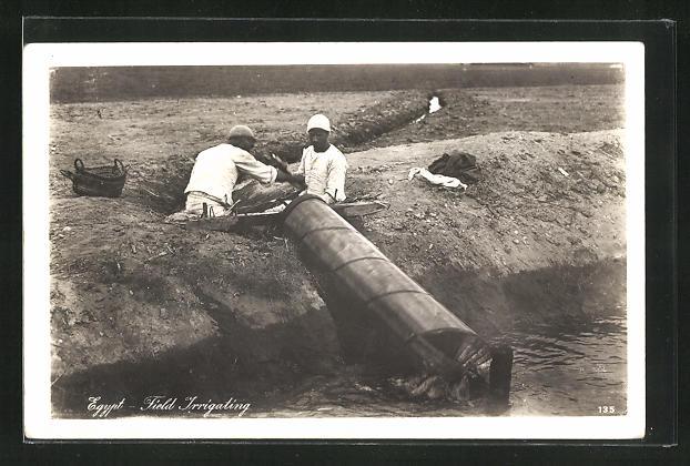 AK Egypt, Field Irrigating, Arabische Männer bei der Feldbewässerung