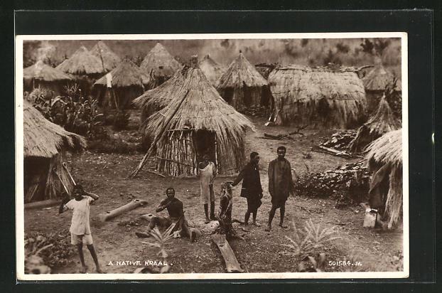 AK Africa, A Native Kraal, Einheimische in ihrem Dorf
