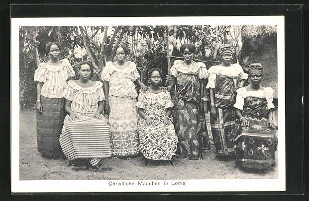 AK Lome, Einheimische christliche Mädchen, afrikanische Volkstypen