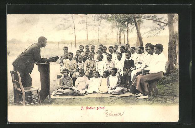 AK Africa, A Native School, Schule unter freiem Himmel, afrikanische Volkstypen