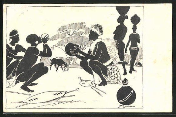 AK Afrika, Einheimische trinken aus Schalen, afrikanische Volkstypen