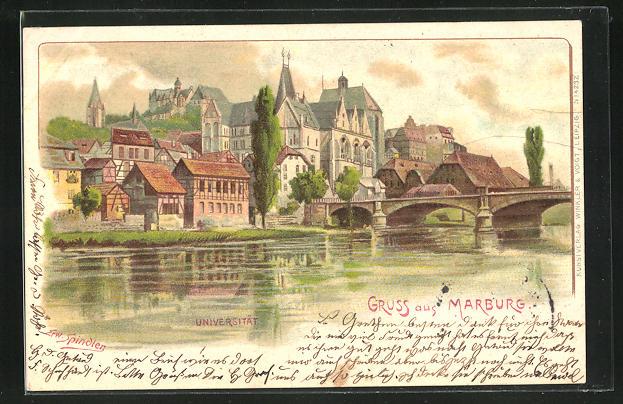 Künstler-AK Erwin Spindler: Marburg, Universität
