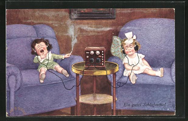 Künstler-AK Herschu: Ein gutes Schlafmittel, Junge mit Zigarette und Mädchen am Radio