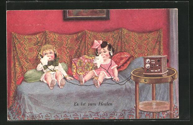 Künstler-AK Herschu: Es ist zum Heulen, Junge und Mädchen mit Taschentüchern am Radio