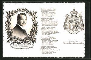 AK Liechtenstein, Portrait Fürst Franz Josef II. von u. zu Liechtenstein, Wappen, Oben am deutschen Rhein...