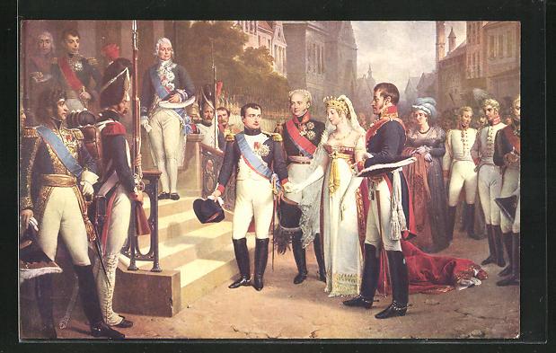 AK Tilsit, Napoleon recoit la reine de Prusse, Napoleon in Uniform u. Königin Luise von Preussen