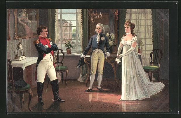 AK Tilsit, Königin Luise von Preussen vor Napoleon in Uniform 1807